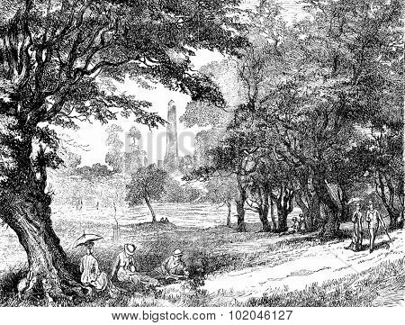 View of Phoenix Park, vintage engraved illustration. Journal des Voyages, Travel Journal, (1879-80).
