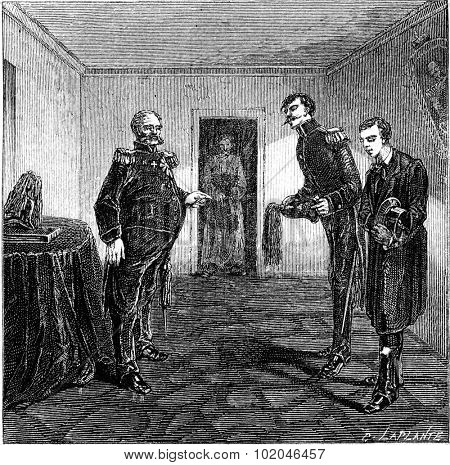 At the commander of the fortress, vintage engraved illustration. Le Tour du Monde, Travel Journal, (1865).