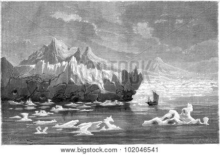 View taken in the Bay of La Madeleine, vintage engraved illustration. Le Tour du Monde, Travel Journal, (1865).