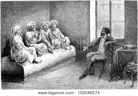 First interview with Tartar slow pilgrims (Sunni) in Tehran, vintage engraved illustration. Le Tour du Monde, Travel Journal, (1865).