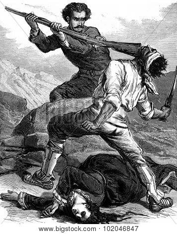 American scenes. Use caravan migrants: It breaks the skull of a miserable rifle butt, vintage engraved illustration. Journal des Voyage, Travel Journal, (1880-81).