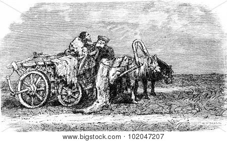 Telega at rest (Estonia), vintage engraved illustration. Le Tour du Monde, Travel Journal, (1865).
