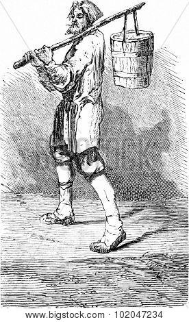 Ice cream vendor in Riga, vintage engraved illustration. Le Tour du Monde, Travel Journal, (1865).