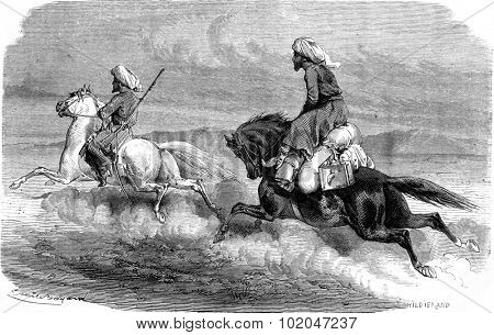 Return, On the road to Tehran, vintage engraved illustration. Le Tour du Monde, Travel Journal, (1865).