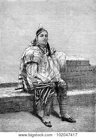 In Tunis. A Jewish, vintage engraved illustration. Journal des Voyages, Travel Journal, (1879-80).
