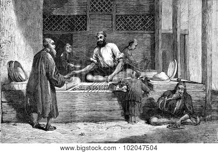 Afghanistan. A merchant of Kabul, vintage engraved illustration. Journal des Voyages, Travel Journal, (1879-80).
