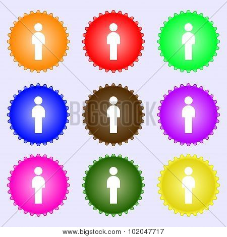 Human Sign Icon. Man Person Symbol. Male Toilet. A Set Of Nine Different Colored Labels. Vector