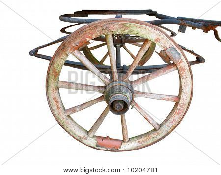 Old Ancient Wheel With Cart Parts Isolated Over White