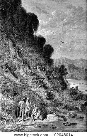 Scene of looting, vintage engraved illustration. Le Tour du Monde, Travel Journal, (1872).