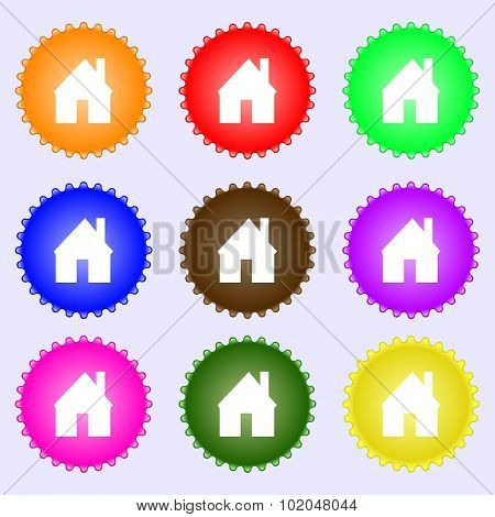 Home Sign Icon. Main Page Button. Navigation Symbol. A Set Of Nine Different Colored Labels. Vector