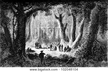 Location of San Gaban, vintage engraved illustration. Le Tour du Monde, Travel Journal, (1872).