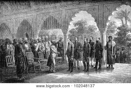 Presentation of travelers Maharaja of Jaipur, vintage engraved illustration. Le Tour du Monde, Travel Journal, (1872).