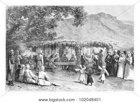 Wedding Feast in Zugdidi, Georgia, drawing by Pranishnikoff based on a photograph, vintage illustration. Le Tour du Monde, Travel Journal, 1881