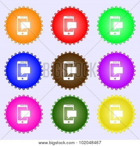 Mail Icon. Envelope Symbol. Message Sms Sign. Mails Navigation Button. A Set Of Nine Different Color