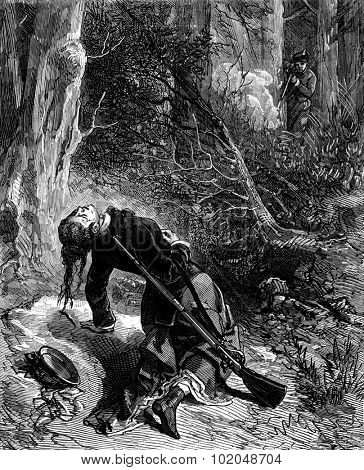 A duel between two women. The girl had hit her rival in the chest, vintage engraved illustration. Journal des Voyages, Travel Journal, (1879-80).