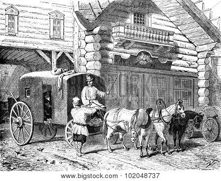 A tarantass, vintage engraved illustration. Le Tour du Monde, Travel Journal, (1872).