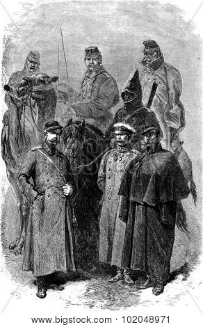 Russian soldiers, vintage engraved illustration. Le Tour du Monde, Travel Journal, (1872).