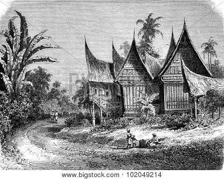 The house of a leader in Sumatra, vintage engraved illustration. Le Tour du Monde, Travel Journal, (1872).