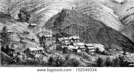 Village of Cholera, vintage engraved illustration. Le Tour du Monde, Travel Journal, (1872).