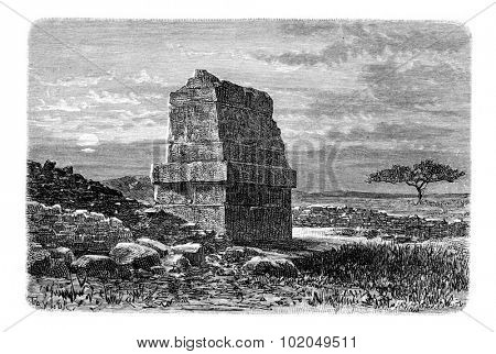 Tomb of King Hiram II of Tyre, in Lebanon, vintage engraved illustration. Le Tour du Monde, Travel Journal, 1881