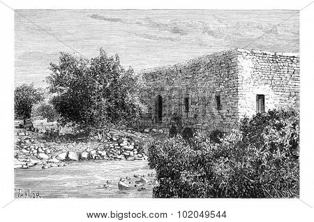 A Mill in Ras al-Ayn, Syria, vintage engraved illustration. Le Tour du Monde, Travel Journal, 1881