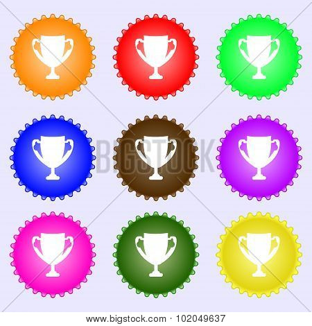Winner Cup Sign Icon. Awarding Of Winners Symbol. Trophy. A Set Of Nine Different Colored Labels. Ve