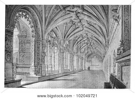 Cloister of the Santa Maria de Belem Monastery in Lisbon, Portugal, drawing by Therond based on a photograph, vintage engraved illustration. Le Tour du Monde, Travel Journal, 1881