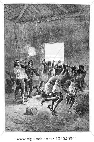 Major Serpa Pinto Fires a Gun at the Head of Duombo in Angola, Southern Africa, drawing by Bayard based on a sketch by Serpa Pinto, vintage engraved illustration. Le Tour du Monde Travel Journal, 1881