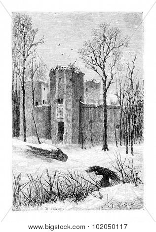 Beersel Castle Ruins in Beersel, Belgium, drawing by Verdyen, vintage illustration. Le Tour du Monde, Travel Journal, 1881