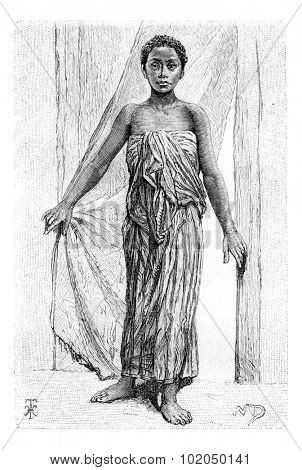 xxxxx, in Angola, Southern Africa, drawing by The Little Mariana, drawing by Maillart based on the English edition, vintage illustration. Le Tour du Monde, Travel Journal, 1881
