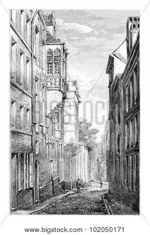 Terarken Street in Brussels, Belgium, drawing by Chauvet, vintage illustration. Le Tour du Monde, Travel Journal, 1881