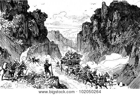 Sierra morena. We drove to the edge of the abyss, vintage engraved illustration. Journal des Voyages, Travel Journal, (1879-80).