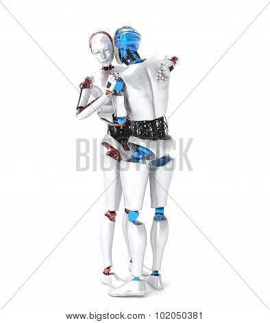 Two hugging robots