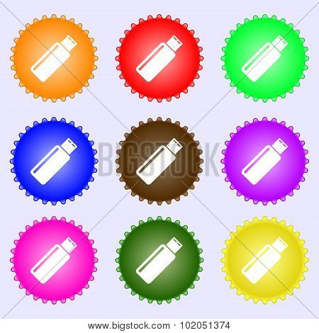 Usb Sign Icon. Flash Drive Stick Symbol. A Set Of Nine Different Colored Labels. Vector