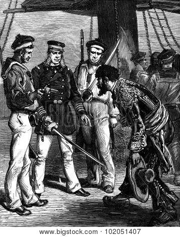 The island of Fernando Po. Knotted captain address apologized, vintage engraved illustration. Journal des Voyages, Travel Journal, (1880-81).