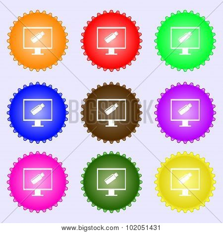 Usb Flash Drive And Monitor Sign Icon. Video Game Symbol. A Set Of Nine Different Colored Labels. Ve