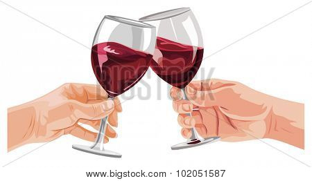 Vector illustration of hands toasting wine glasses.
