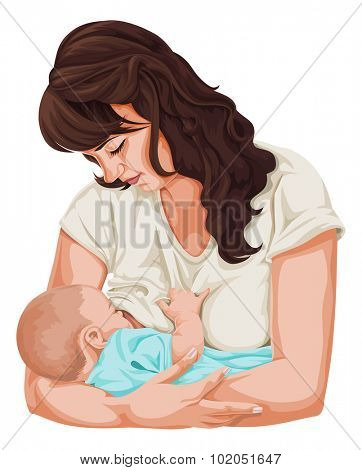 Vector illustration of mother breast feeding her newborn baby.