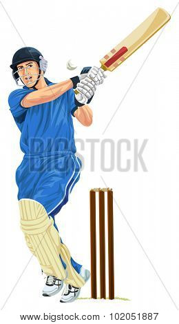 Vector illustration of cricket batsmen playing shot.