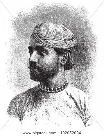 Sheodan Sing Maharao Raja Ulwur, vintage engraved illustration. Le Tour du Monde, Travel Journal, (1872).