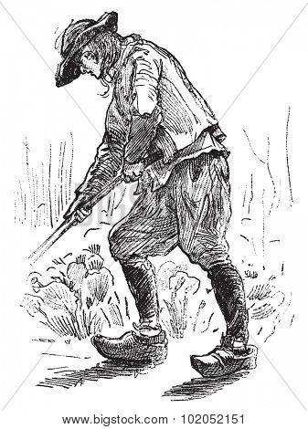 Peasant Breton, vintage engraved illustration. Journal des Voyages, Travel Journal, (1879-80).