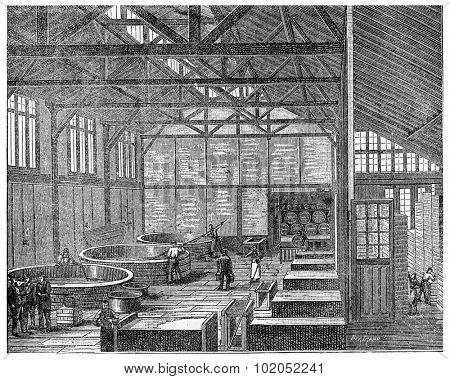 Parisian soap, vintage engraved illustration. Industrial encyclopedia E.-O. Lami - 1875.