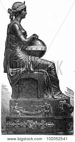 Gilt bronze clock, era of the Executive Board, vintage engraved illustration. Industrial encyclopedia E.-O. Lami - 1875.