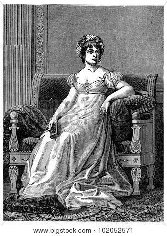 Madame de Stael, vintage engraved illustration. Industrial encyclopedia E.-O. Lami - 1875.