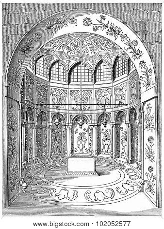 Tomb of Abbas II (seventeenth century), in Isfahan, vintage engraved illustration. Industrial encyclopedia E.-O. Lami - 1875.