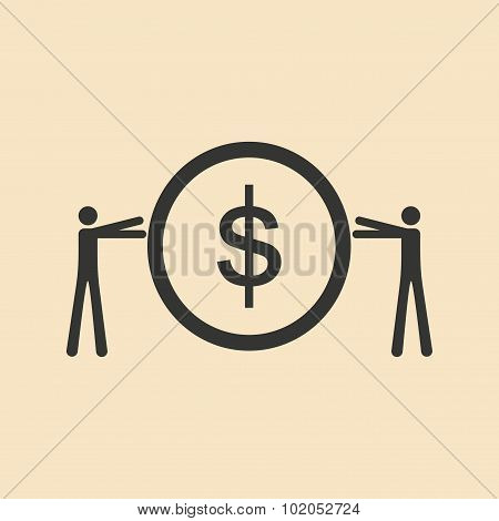 Flat in black and white People hold coin