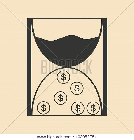 Flat in black white hourglass and coins