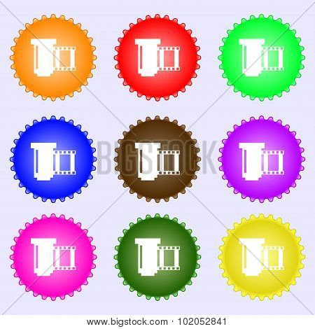 Negative Films Icon Symbol. A Set Of Nine Different Colored Labels. Vector