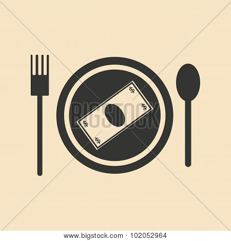 Flat black and white Banknotes in plate