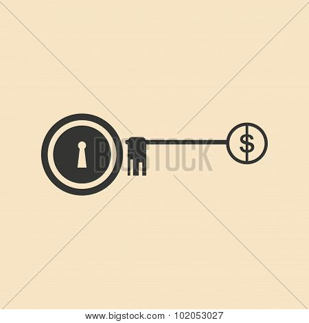 Flat in black white lock and key Dollar
